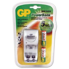 Зарядное устройство GP (Джи-Пи) для 2-х NiMH аккумуляторов AA или AAA + 2 аккумулятора AA 2700 мАч, заряд 5 часов