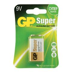 """Батарейка GP Super, """"Крона"""" (6LR61, 6LF22, 1604A), алкалиновая, 1 шт., в блистере"""