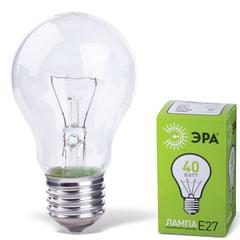 Лампа накаливания ЭРА, 40 Вт, грушевидная, прозрачная, колба d=55 мм, цоколь Е27, А55-40-230E27CL