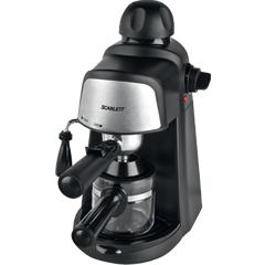 Кофеварка рожковая SCARLETT SC-037, объем 0,2 л, мощность 800 Вт, давление 4 бара, пластик, насадка для взбивания, черная
