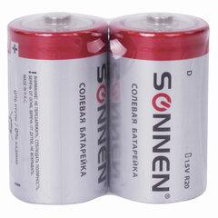 Батарейки КОМПЛЕКТ 2 шт, SONNEN, D (R20), солевые, в пленке, 451100