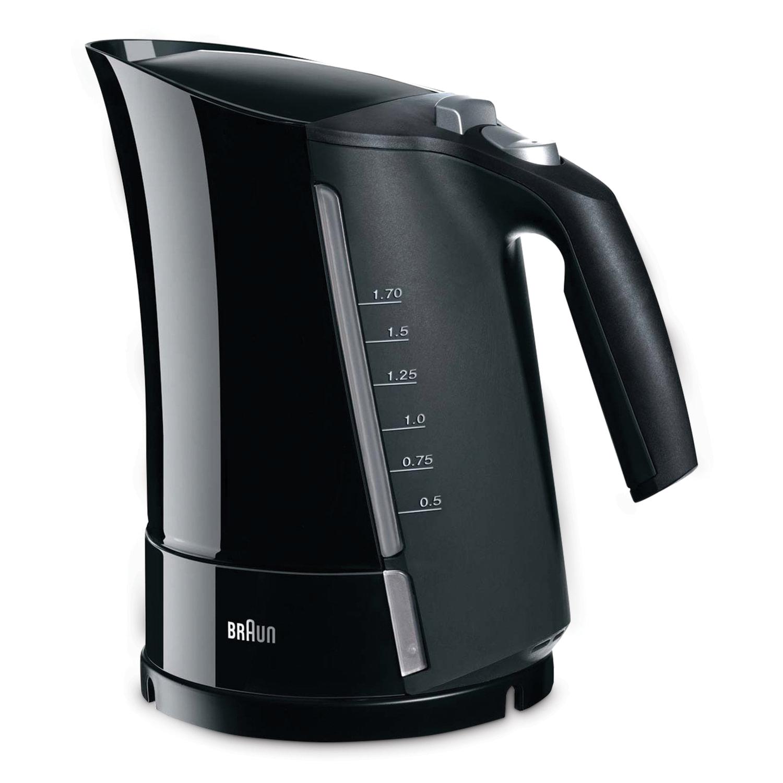 Чайник BRAUN WK-300, 1,7 л, 2200 Вт, закрытый нагревательный элемент, пластик, черный