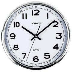 Часы настенные SCARLETT SC-WC1002O круглые, белые, серебристая рамка, пластик, плавный ход, 31х31х4,6 см