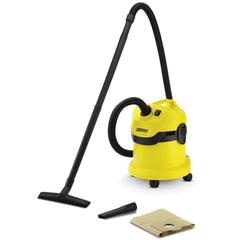 Пылесос KARCHER (КЕРХЕР) WD 2, с пылесборником, потребляемая мощность 1000 Вт, желтый, 1.629-783.0