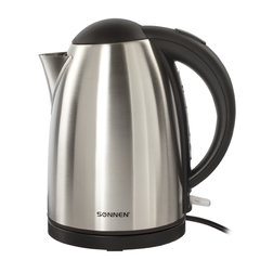 Чайник SONNEN KT-106, 1,8 л, 2200 Вт, закрытый нагревательный элемент, нержавеющая сталь, 451707