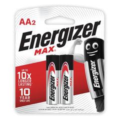 Батарейки КОМПЛЕКТ 2 шт., ENERGIZER Max, AA (LR06, 15А), алкалиновые, пальчиковые, блистер