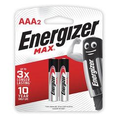 Батарейки КОМПЛЕКТ 2 шт., ENERGIZER Max, AAA (LR03, 24А), алкалиновые, мизинчиковые, блистер