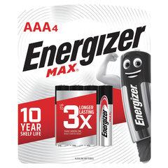 Батарейки КОМПЛЕКТ 4 шт., ENERGIZER Max, AAA (LR03, 24А), алкалиновые, мизинчиковые, блистер