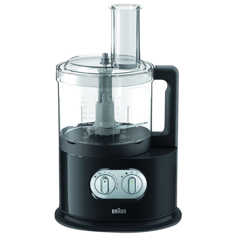 Кухонный комбайн BRAUN FP5160, мощность 1000 Вт, 11 скоростей, 11 насадок, соковыжималка, черный