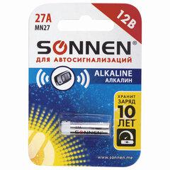 Батарейка SONNEN Alkaline, 27А (MN27), алкалиновая, для сигнализаций, 1 шт., в блистере, 451976