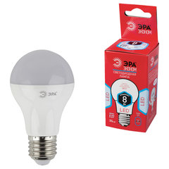 Лампа светодиодная ЭРА, 8 (55) Вт, цоколь E27, грушевидная, холодный белый свет, 25000 ч., LED smdA55\60-8w-840-E27ECO