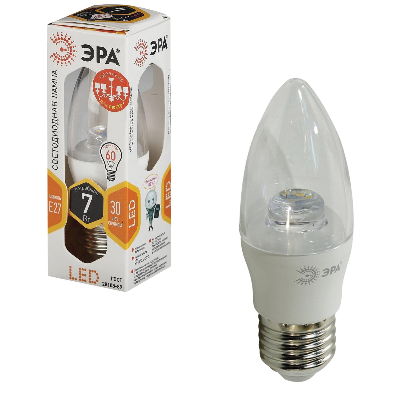 """Лампа светодиодная ЭРА, 7 (60) Вт, цоколь E27, """"прозрачная свеча"""", теплый белый свет, 30000 ч., LED smdB35-7w-827-E27-Clear"""