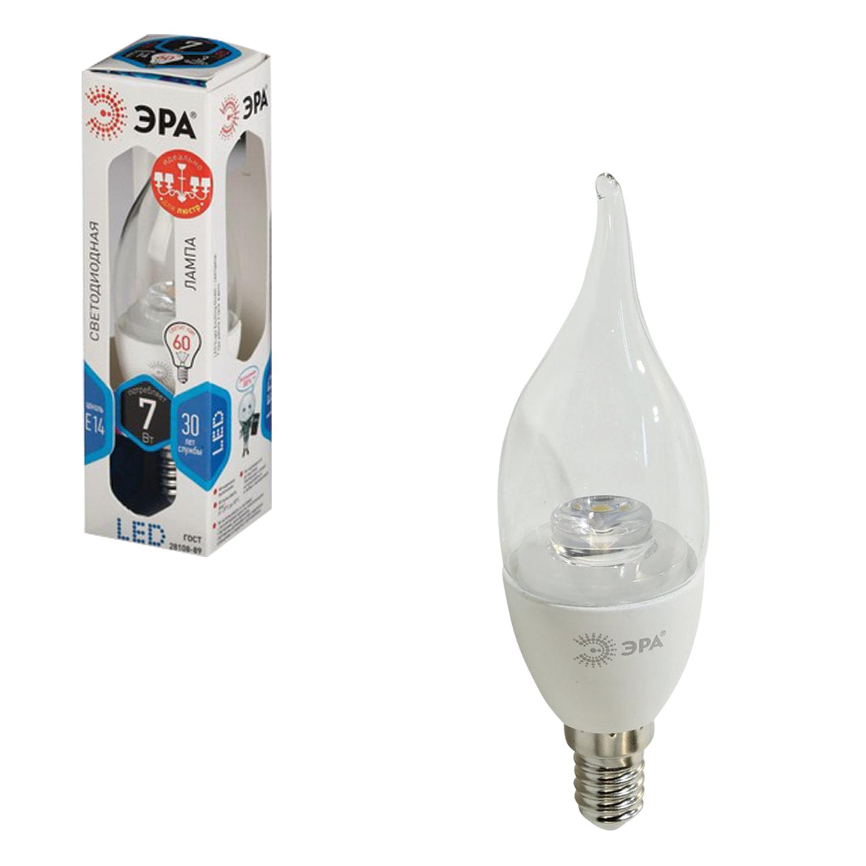 "Лампа светодиодная ЭРА, 7 (60) Вт, цоколь E14, ""прозрачная свеча на ветру"", холодный белый свет, LED smdBXS-7w-840-E14-Clear"