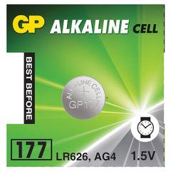 Батарейка GP Alkaline 177 (G4, LR626), алкалиновая, 1 шт., в блистере (отрывной блок)