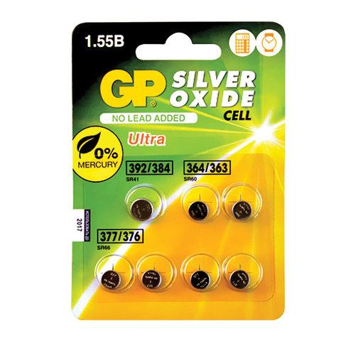 Батарейки GP (Джи-Пи) Silver Oxide, комплект 7 шт. (392/384 - 1 шт., 364/363 - 2 шт., 377/376 - 4 шт.), 1,5 В