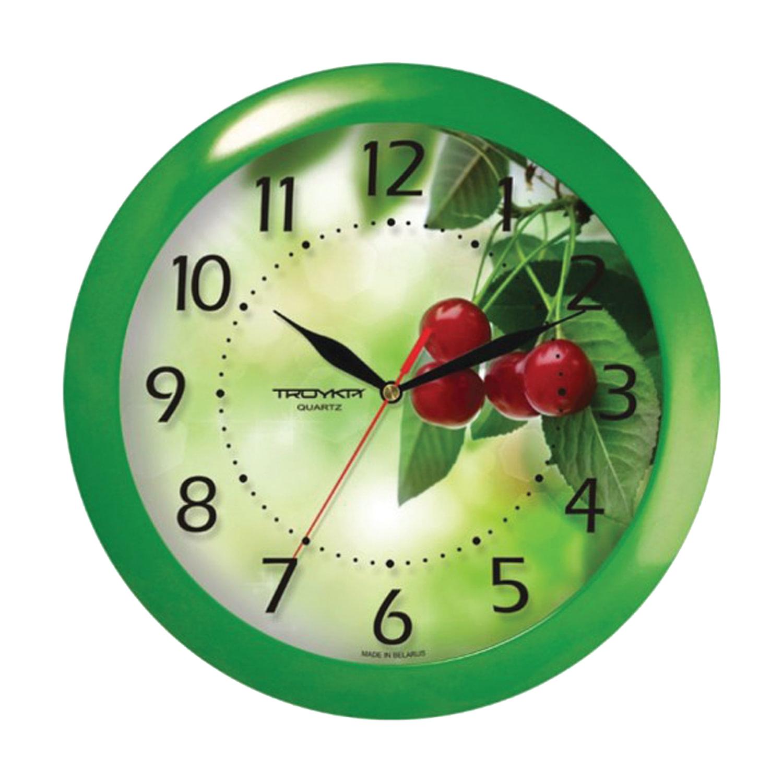 """Часы настенные TROYKA 11120162, круг, белые с рисунком """"Вишня"""", зеленая рамка, 29х29х3,5 см"""