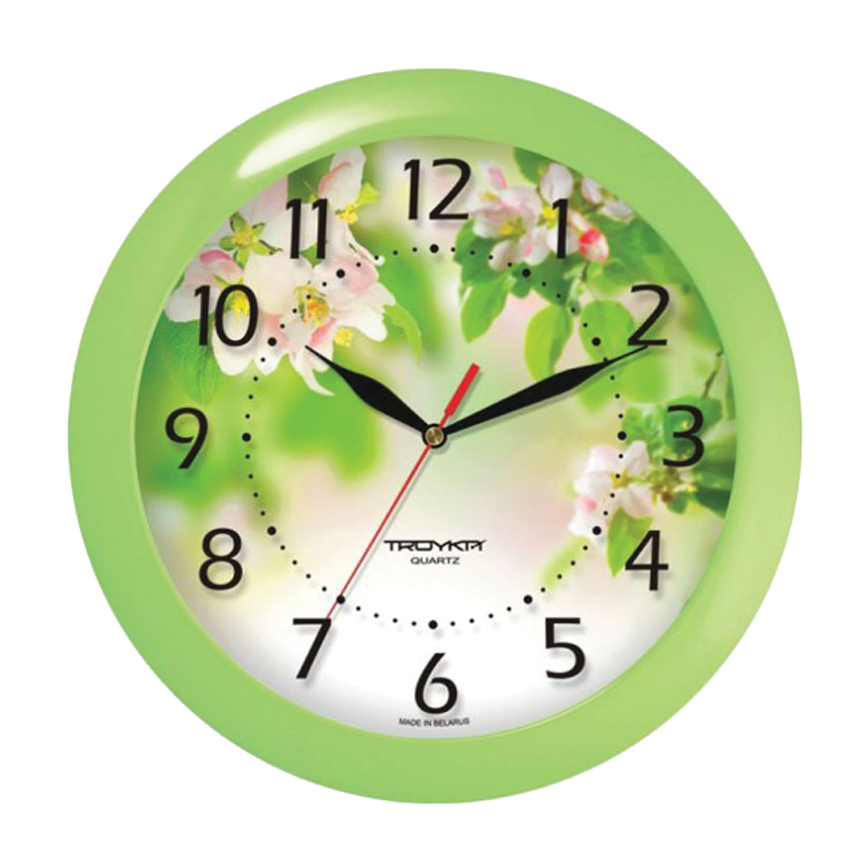 """Часы настенные TROYKA 11121186, круг, белые с рисунком """"Весна"""", зеленая рамка, 29х29х3,5 см"""
