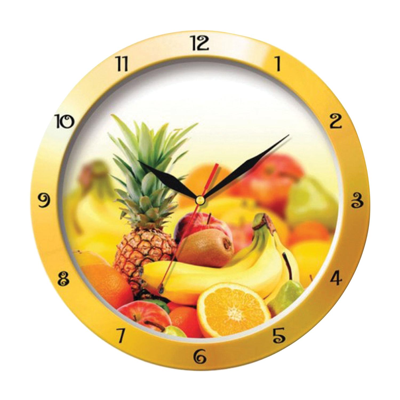 """Часы настенные TROYKA 11150157, круг, белые с рисунком """"Фрукты"""", желтая рамка, 29х29х3,5 см"""