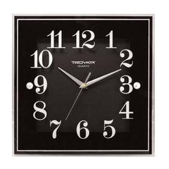 Часы настенные TROYKA 81000012, квадрат, черные, белая рамка, 32х32х3,5 см