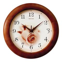 """Часы настенные САЛЮТ ДС-ББ28-432, круг, бежевые с рисунком """"Роза"""", деревянная рамка, 31х31х4,5 см"""