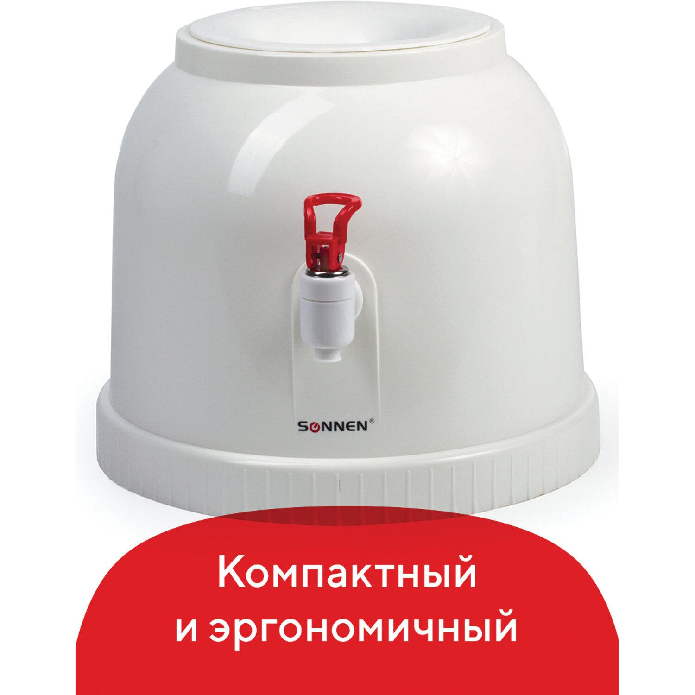 Водораздатчик-кулер БЕЗ НАГРЕВА И ОХЛАЖДЕНИЯ, SONNEN TS-01, настольный, 1 кран, белый, 452417