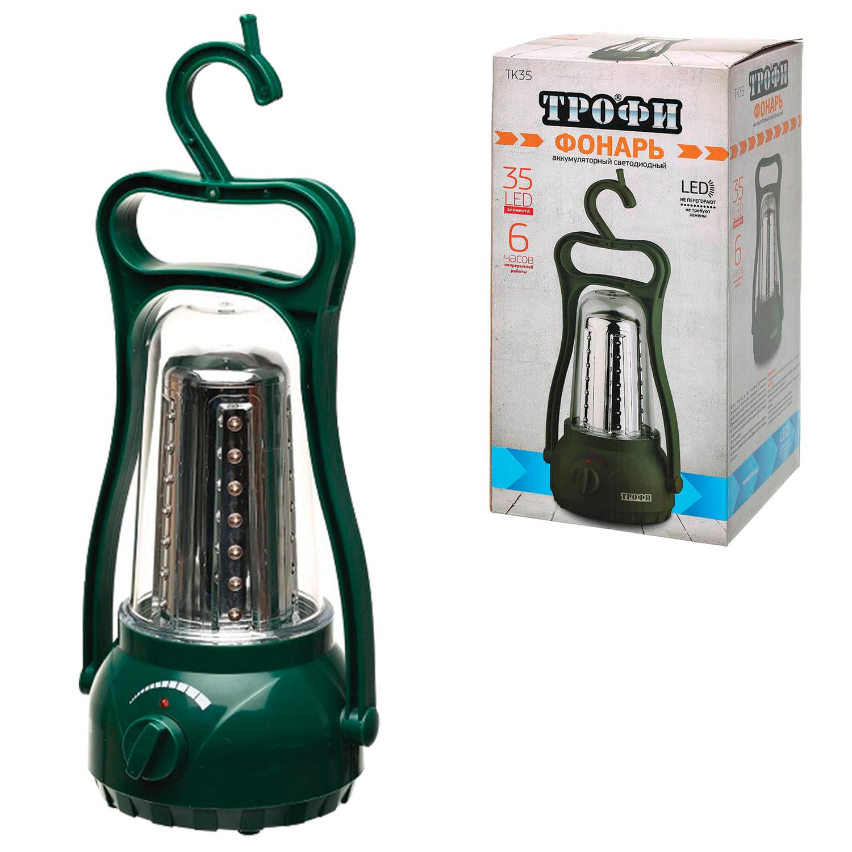 Фонарь светодиодный ТРОФИ TK35, 35 x LED, кемпинговый аккумуляторный, заряд от 220 V