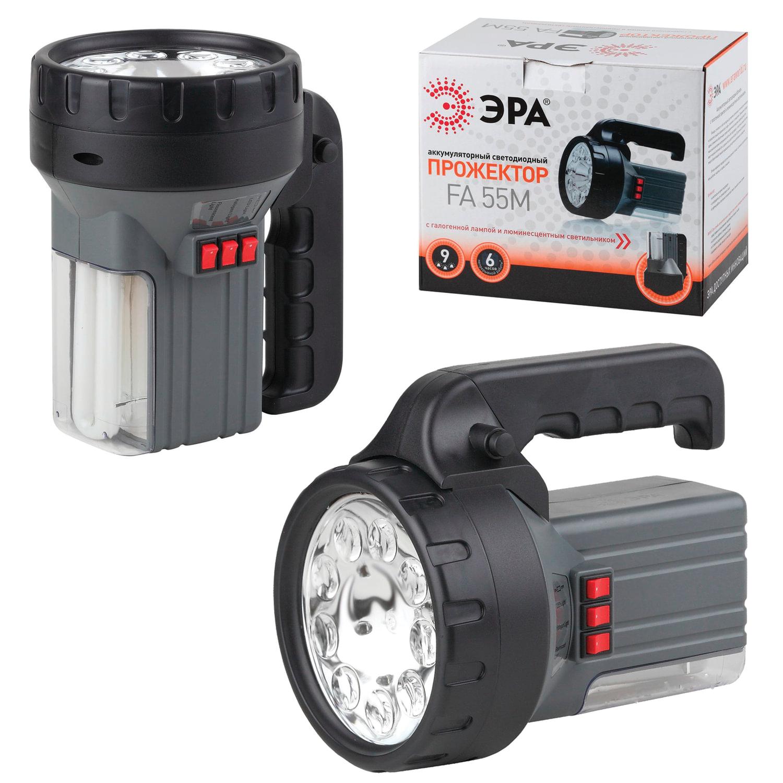 Фонарь-прожектор светодиодный ЭРА FA55M, 9 x LED + 1 галогеновая + 1 люминисцентная лампа, аккумуляторный, заряд от 220 V