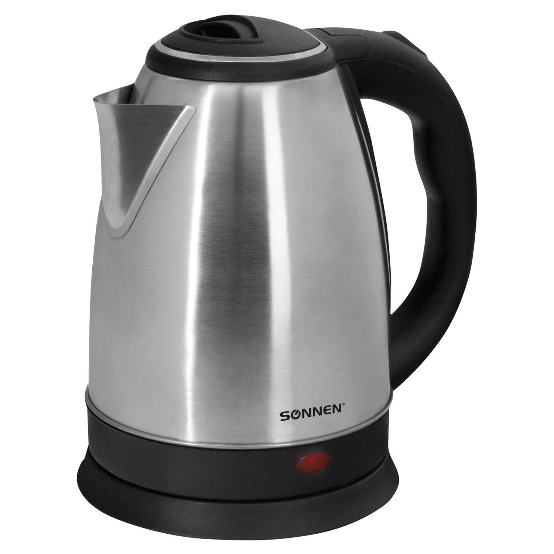 Чайник SONNEN KT-118, 1,8 л, 1500 Вт, закрытый нагревательный элемент, нержавеющая сталь, серебристый, 452926
