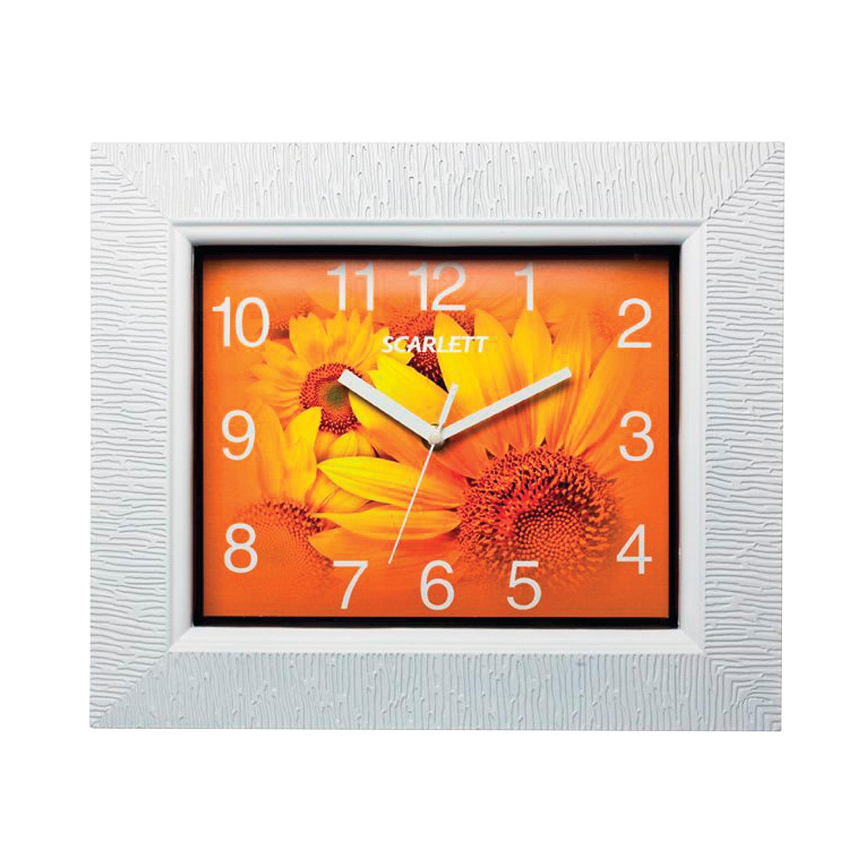 """Часы настенные SCARLETT SC-25O, квадрат, оранжевые с рисунком """"Подсолнухи"""", белая рамка, 33,2x28,2x5,2 см"""