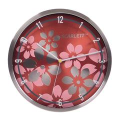 Часы настенные SCARLETT SC-33B, круг, коричневые с цветочным рисунком, серебристая рамка, 30x30x5,2 см