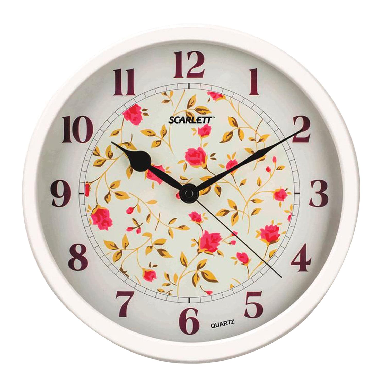 "Часы настенные SCARLETT SC-WC1002I, круг, белые с рисунком ""Розы"", белая рамка, 31,5x31,5x5,2 см"