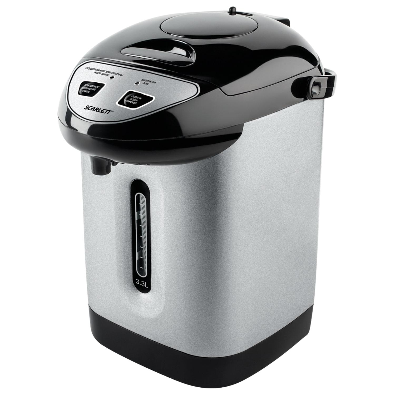 Термопот SCARLETT SC-ET10D50, 3,3 л, 750 Вт, 1 температурный режим, 3 режима подачи воды, сталь, черный/серебристый