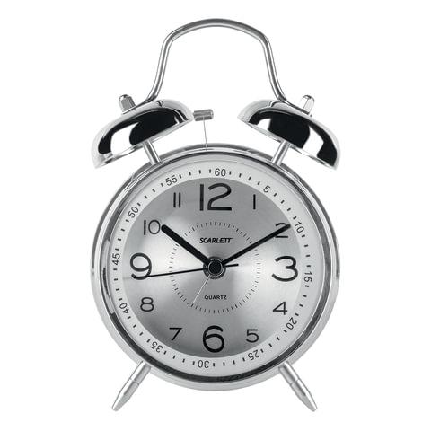 Часы-будильник SCARLETT SC-AC1008M, повтор сигнала, механический сигнал, пластик/металл, серебристые