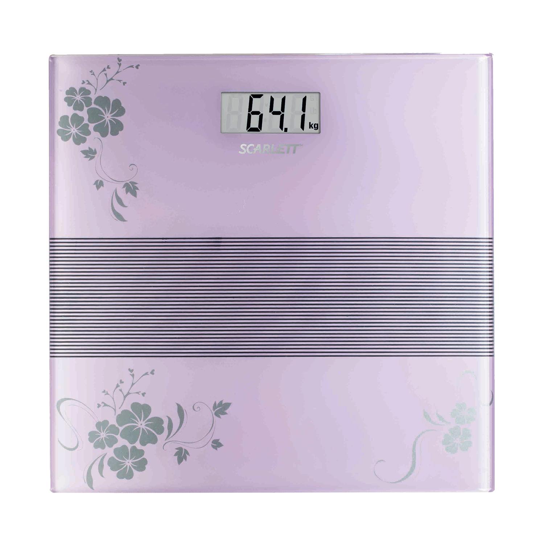 Весы напольные SCARLETT SC-BS33E060, электронные, максимальная нагрузка 150 кг, квадрат, стекло с рисунком