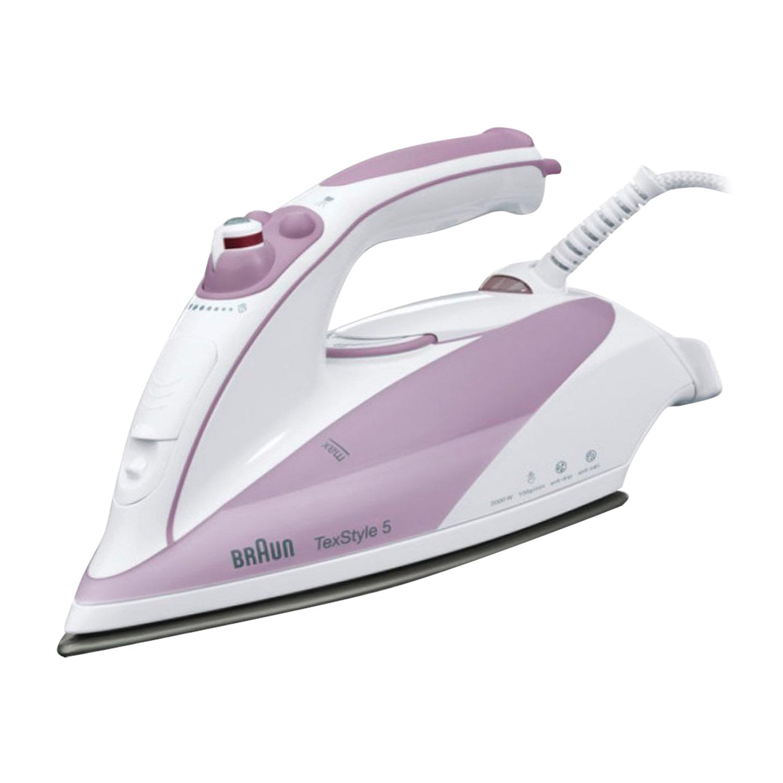 Утюг BRAUN TS505, 2000 Вт, антипригарное покрытие, самоочистка, антикапля, белый/фиолетовый
