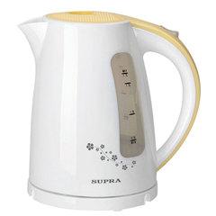 Чайник SUPRA KES-1726, 1,7 л, 2200 Вт, закрытый нагревательный элемент, пластик, белый/желтый
