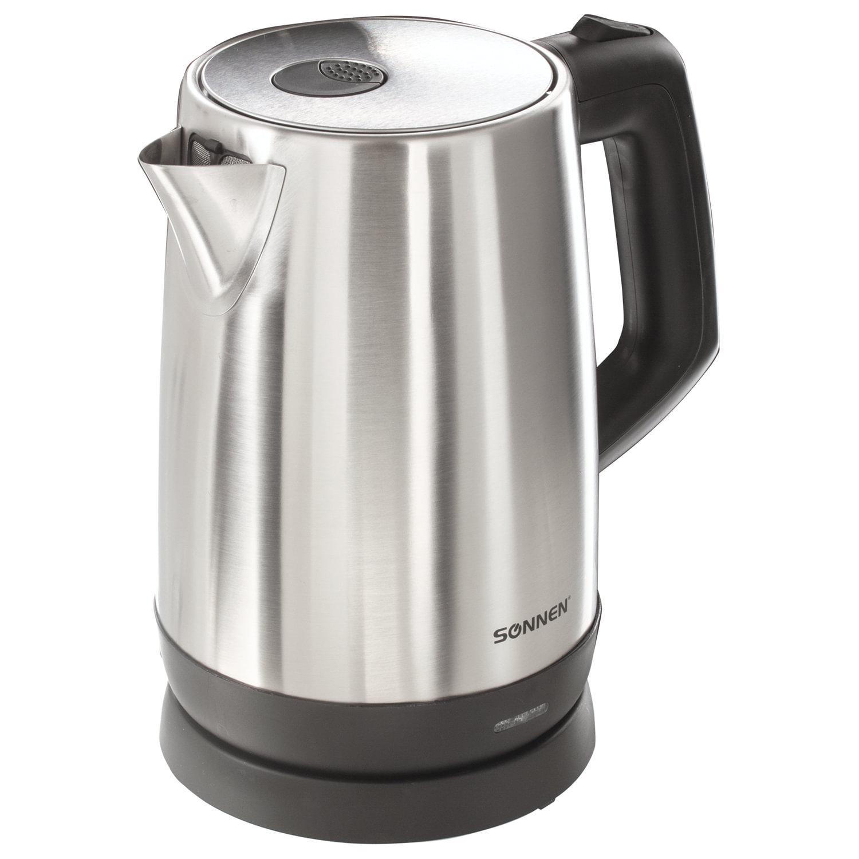 Чайник SONNEN KT-1785, 1,7 л, 2200 Вт, закрытый нагревательный элемент, нержавеющая сталь, 453420
