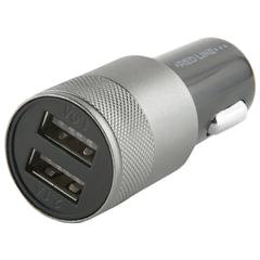 Зарядное устройство автомобильное, RED LINE C20, кабель microUSB 1 м, 2 порта USB, выходной ток 2,1 А, черное