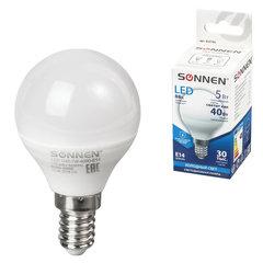 Лампа светодиодная SONNEN, 5 (40) Вт, цоколь E14, шар, холодный белый свет, 30000 ч, LED G45-5W-4000-E14, 453702