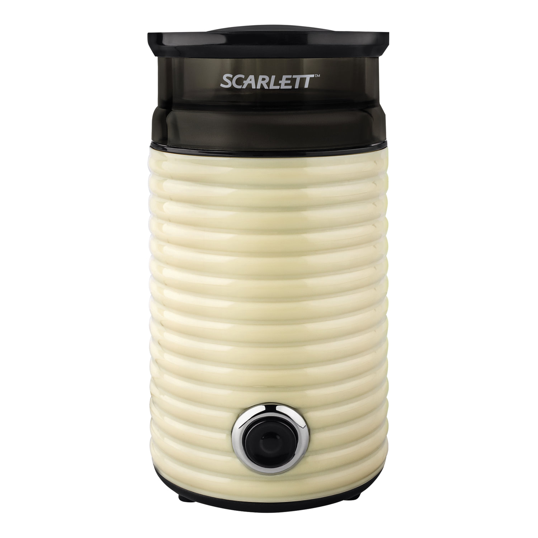 Кофемолка SCARLETT SC-CG44502, 160 Вт, объем 60 г, пластик, ножи из нержавеющей стали, бежевая/черная