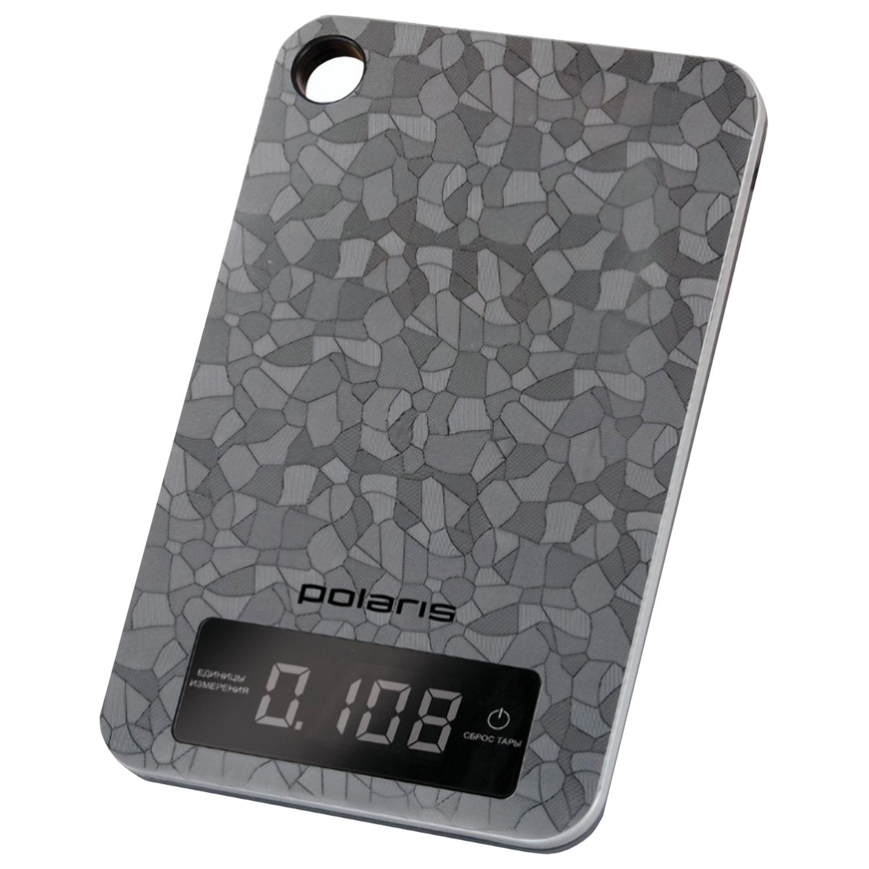 """Весы кухонные POLARIS PKS 0531ADL """"Crystal"""", электронный дисплей, max вес 5 кг, тарокомпенсация, сталь"""