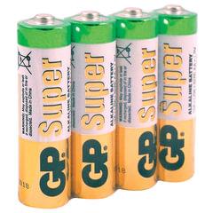 Батарейки КОМПЛЕКТ 4 шт., GP Super, AA (LR06, 15А), алкалиновые, пальчиковые, в пленке, 15ARS-2SB4