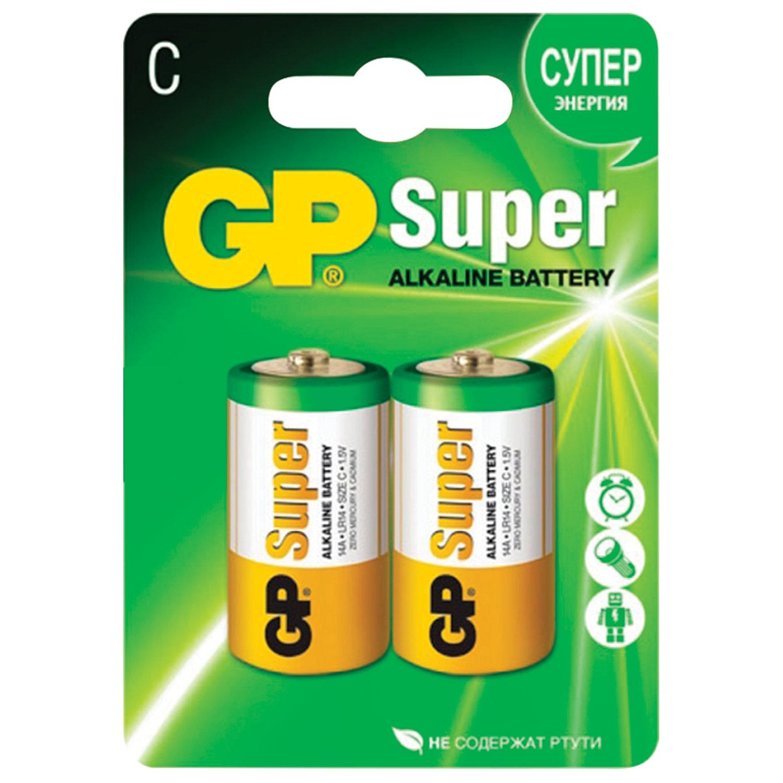 Батарейки GP Super, С (LR14, 14А), алкалиновые, КОМПЛЕКТ 2 шт., блистер, 14A-2CR2