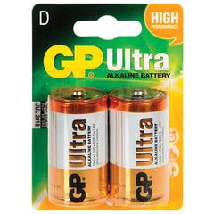 Батарейки GP Ultra, D (LR20, 13А), алкалиновые, КОМПЛЕКТ 2 шт., блистер, 13AU-CR2