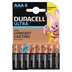 Батарейки КОМПЛЕКТ 8 шт., DURACELL Ultra Power, AAA (LR03, 24А), алкалиновые, мизинчиковые, блистер