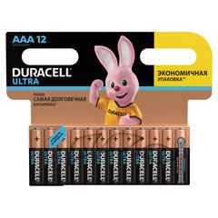 Батарейки КОМПЛЕКТ 12 шт., DURACELL Ultra Power, AAA (LR03, 24А), алкалиновые, мизинчиковые, блистер