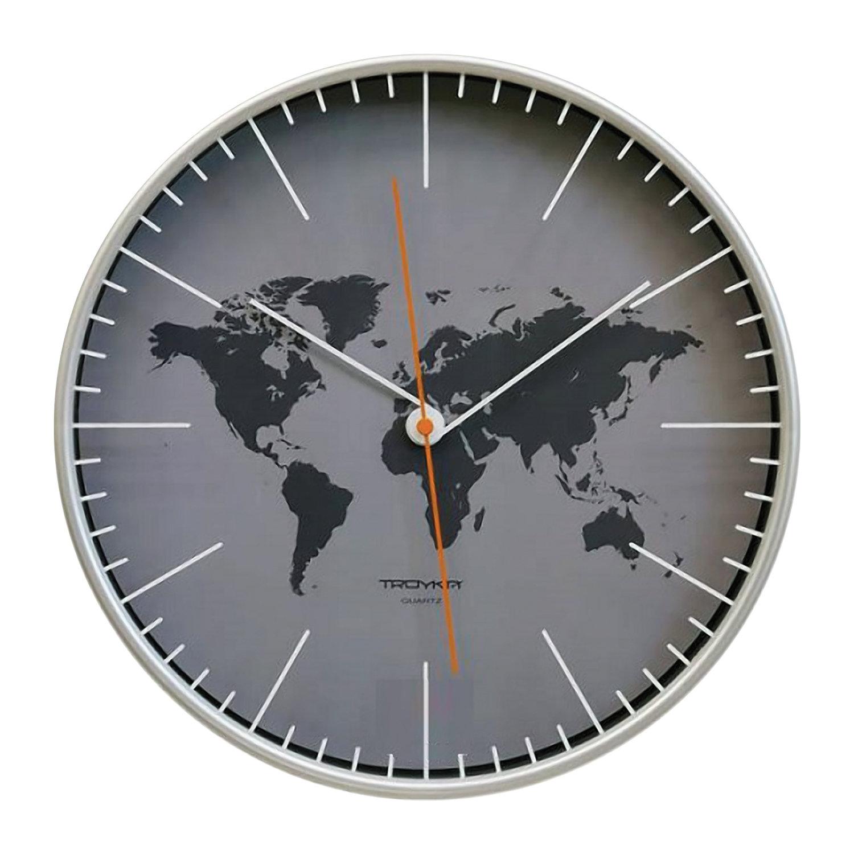 Часы настенные TROYKA 77777733, круг, серые, серебристая рамка, 30,5х30,5х5 см