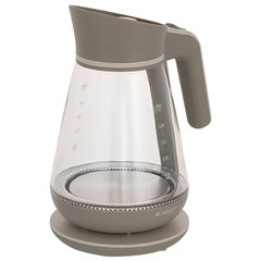 Чайник SCARLETT SC-EK27G38, 1,5 л, 2200 Вт, закрытый нагревательный элемент, стекло, серый