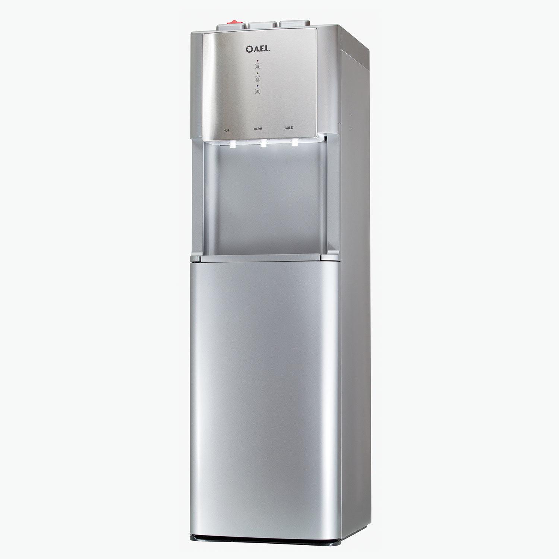 Кулер для воды AEL LD-AEL-811a, напольный, НАГРЕВ/ОХЛАЖДЕНИЕ ЭЛЕКТРОННОЕ, бутыль снизу, 3 крана, серебро