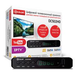 Приставка для цифрового ТВ DVB-T2 D-COLOR DC922HD, RCA, HDMI, USB, дисплей, пульт ДУ